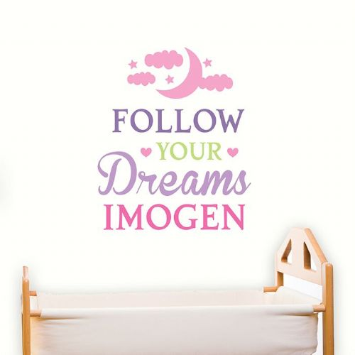 Personalised Follow Your Dreams Pink Wall Art